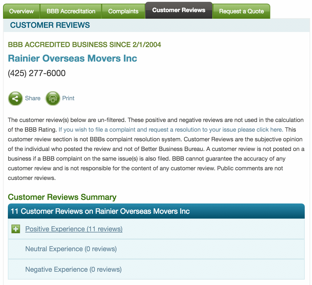 BBB Customer Reviews for Rainier Overseas