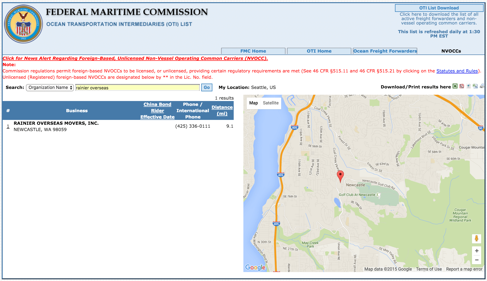 Rainier Overseas Federal Maritime Commission Listing